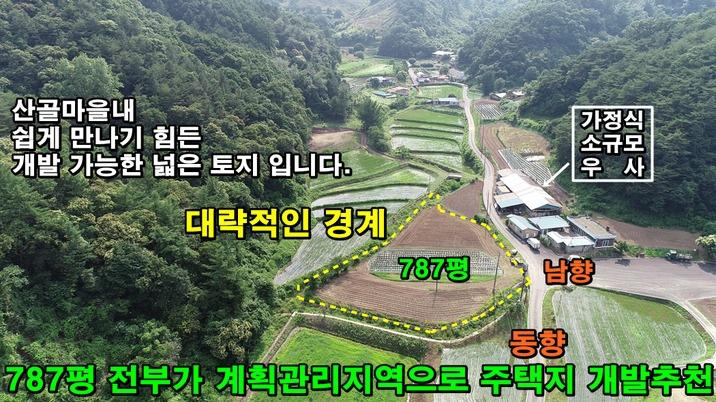 산골마을 편안한 토지. 계획관리 787평