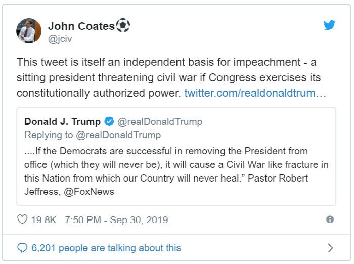 탄핵되면 내전? 우익 목사 선동 리트윗한 트럼프