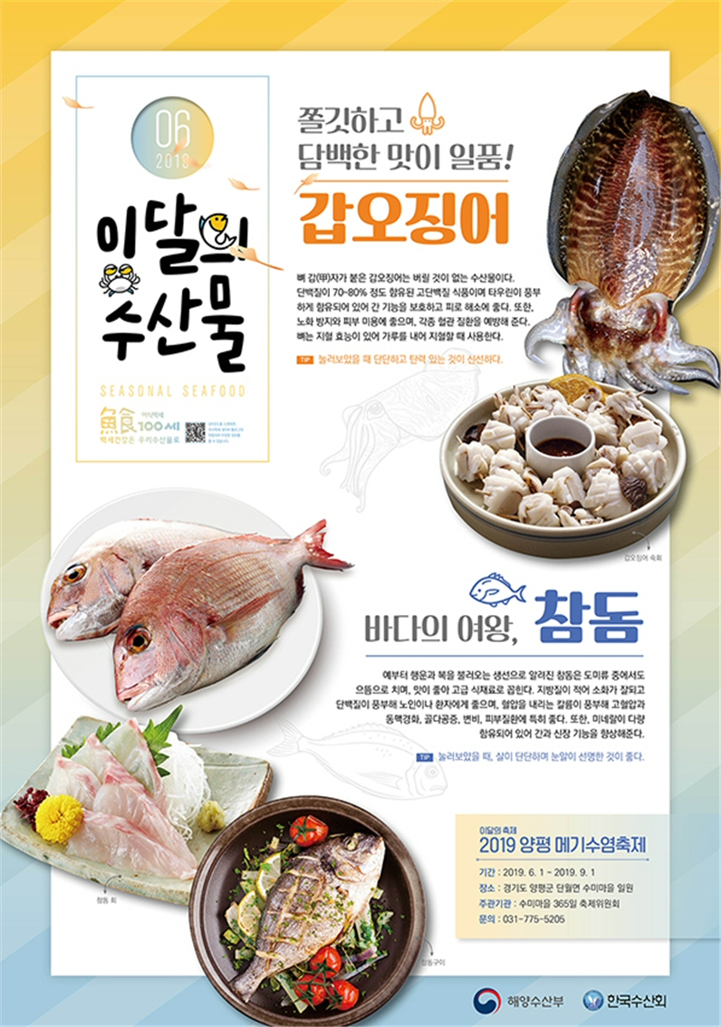 2019년 6월 이달의 수산물, '갑오징어'와 '참돔' 선정