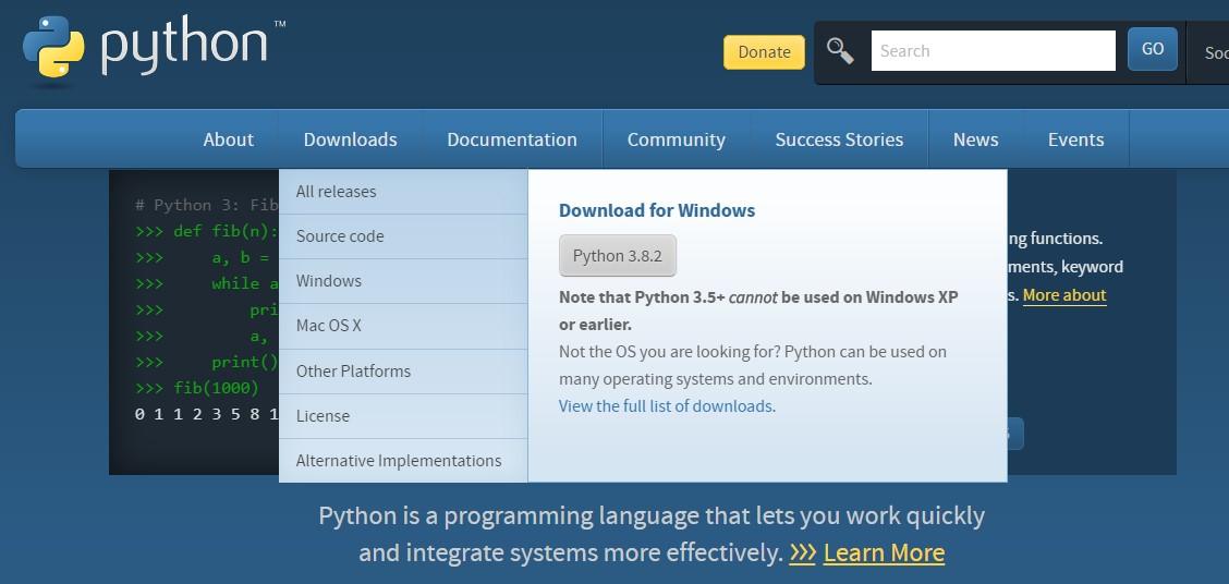 파이썬 설치 프로그램 다운로드