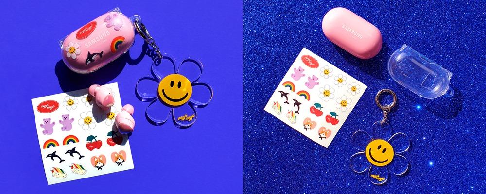 ▲ 사은품으로 제공되는 '버즈+ 전용 아라리 투명 케이스'와 '위글위글 Smile We Love 키링', '위글위글 DIY 스티커' 3종의 사은품