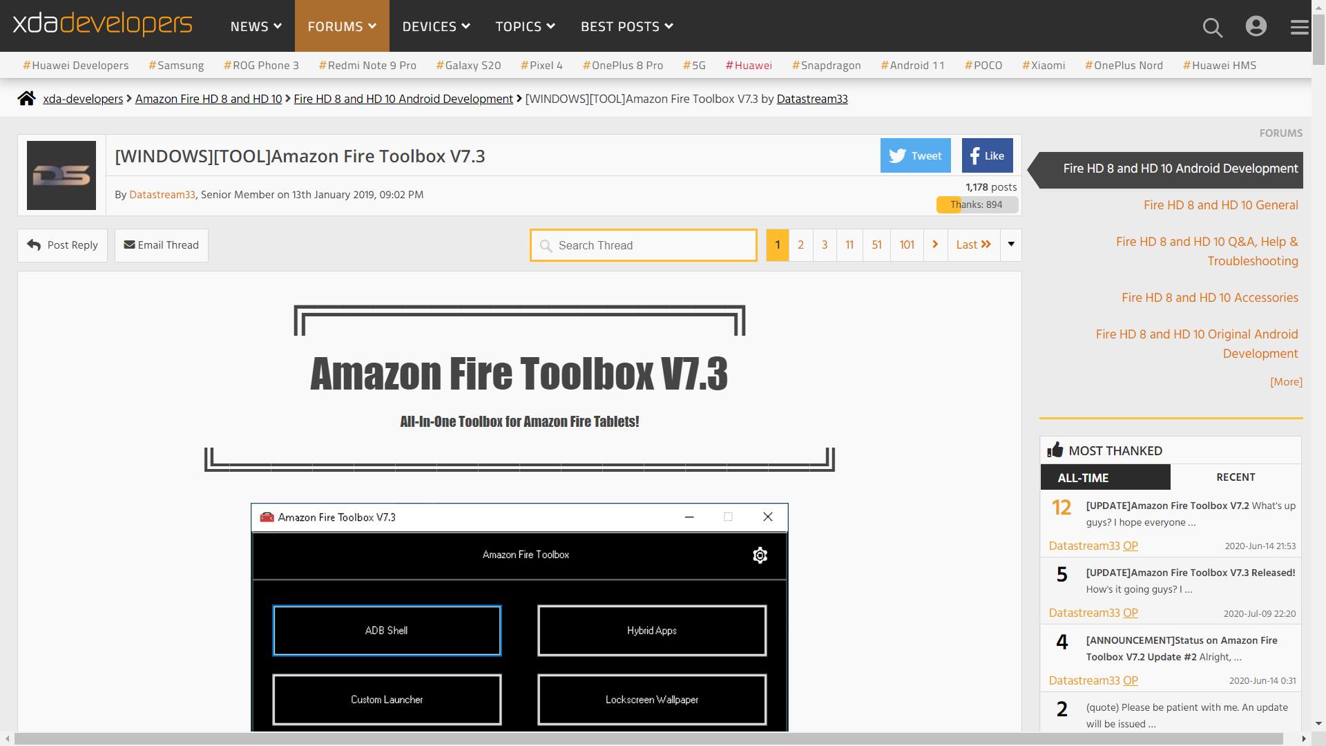 아마존 파이어 툴박스(V7.2)로 파이어 HD 8 2020(10세대) 설정하기