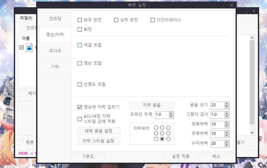 영상/자막 설정