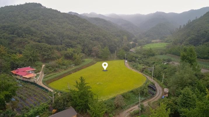 마을 끝에 산이 감싸주는 조용한 환경의 영농과 주택지