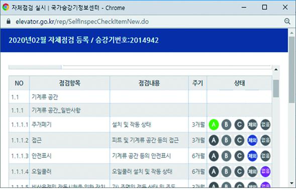 국가승강기정보센터 통한 자체점검입력과 확인 방법