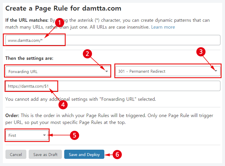 cloudflare page rules option