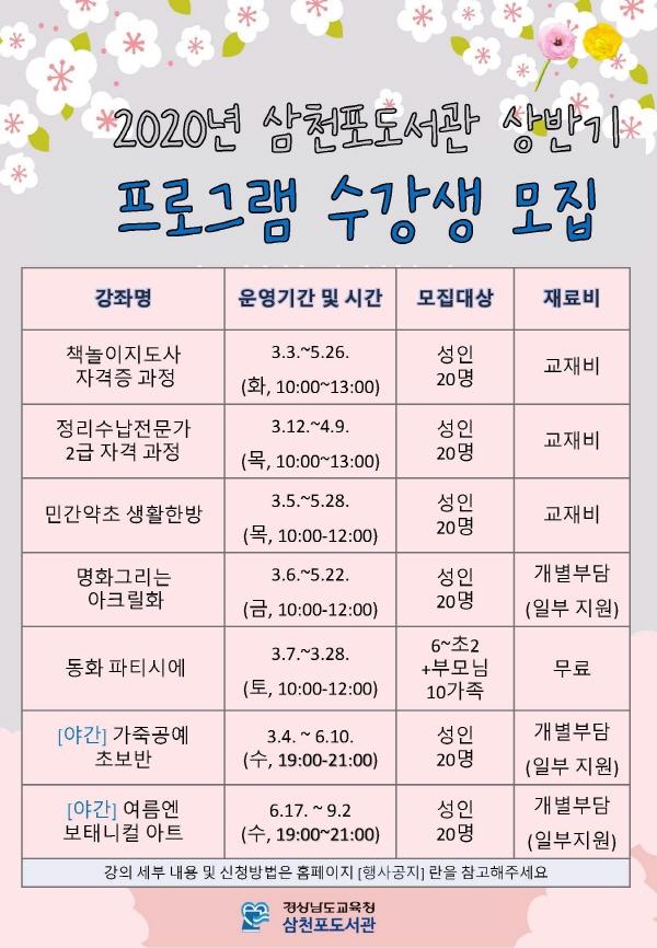 삼천포도서관, 상반기 평생학습 별밤 프로그램 개설