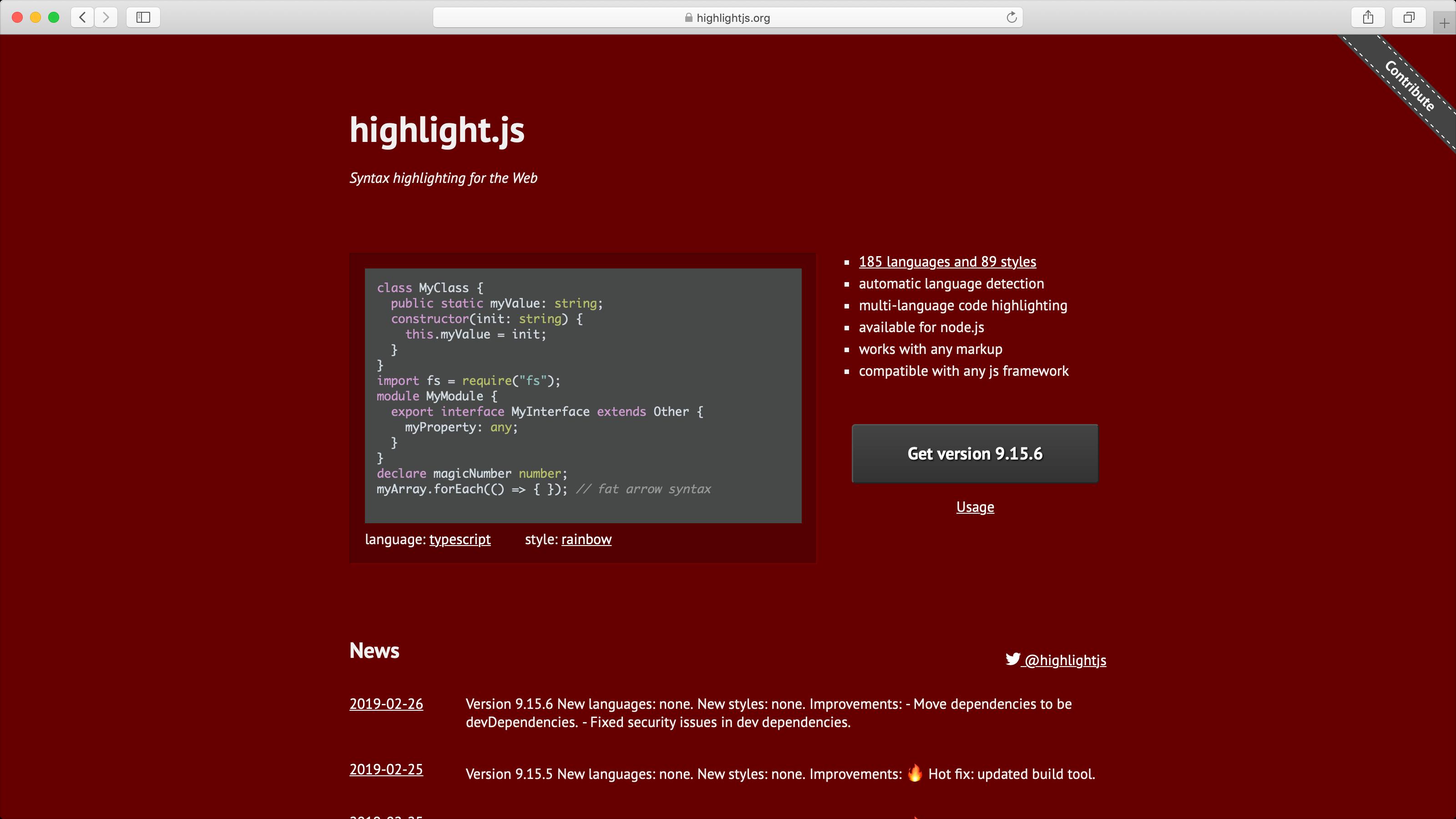 hightlight.js 플러그인 사이트
