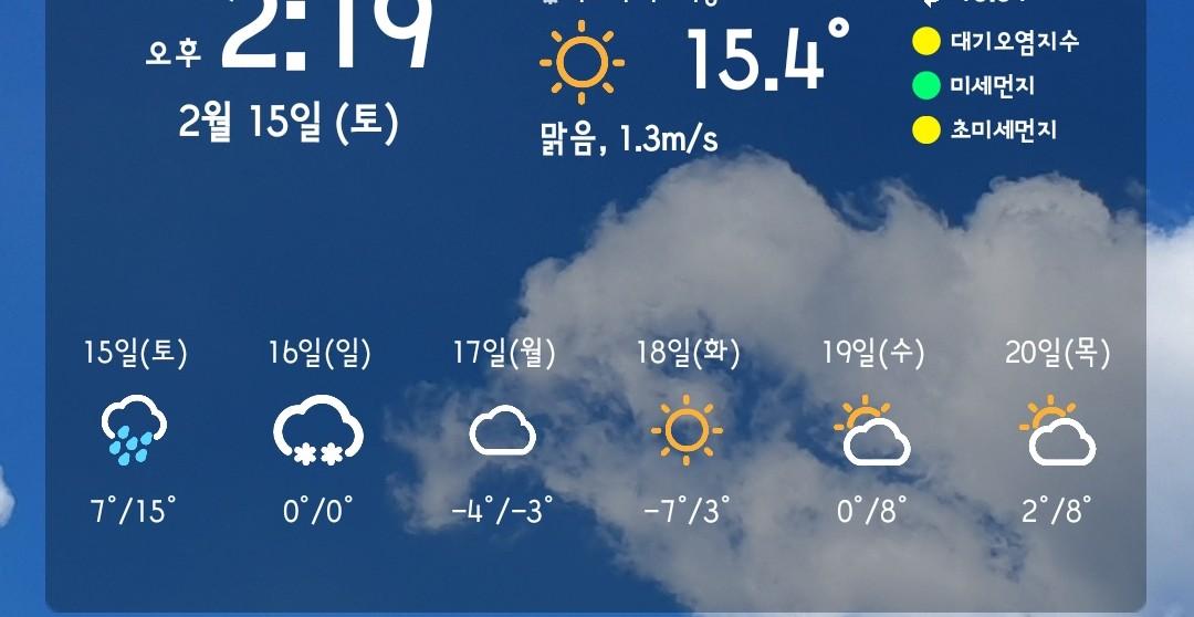 2월에 봄 느낌 : 15.4도