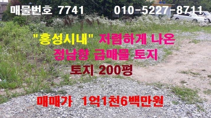 """""""홍성읍내"""" 상당히 저렴하게 나온 정남향 급매물 토지"""