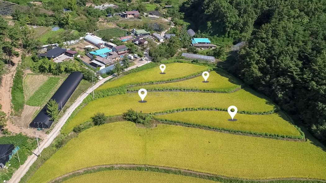2차선 국도변 아담한 마을, 초입부에 위치한 남향의 토지