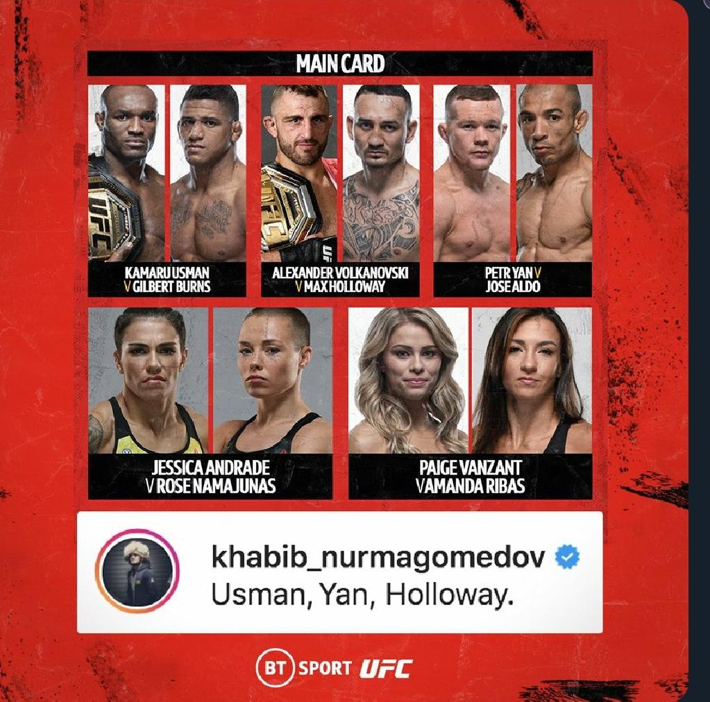 [UFC 트윗 단신] 스티페 미오치치 VS 다니엘 코미어, 카마루 우스만 VS 길버트 번즈 공식 확정