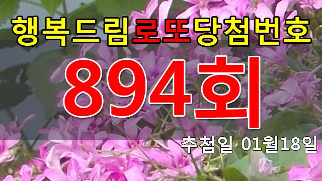 로또894회당첨번호 안내