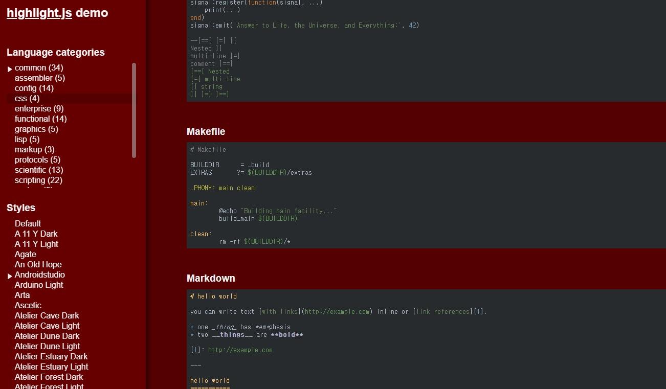 hightlight.js demo
