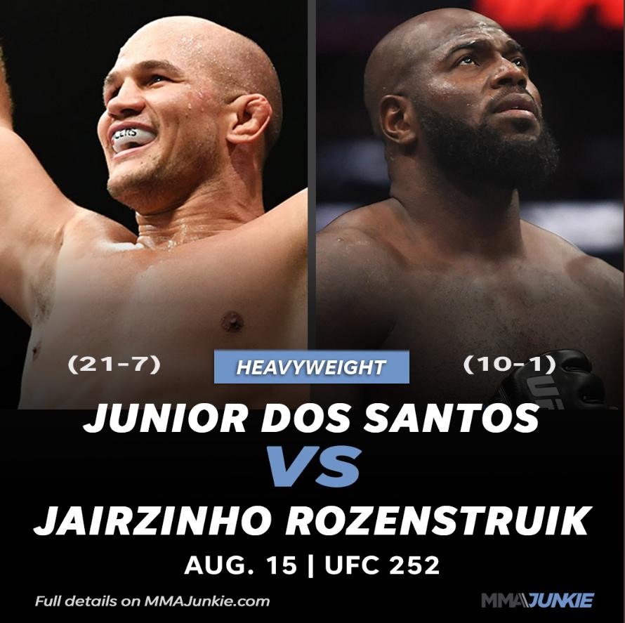 [UFC 매치업 뉴스] 주니어 도스 산토스 VS 자이르지뇨 로젠스트루익 8월16일 대회 카드 추가
